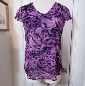 LAUREN CONRAD L purple black sequined top